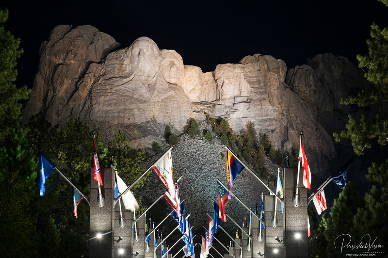 Mount Rushmore and Avenue of Flags at Night
