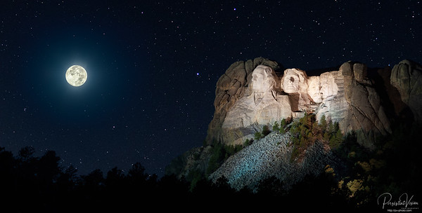 Mount Rushmore with Full Moon