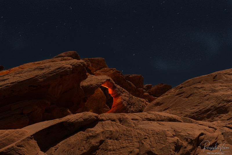 Arch Rock in Moonlight with Lightpainting