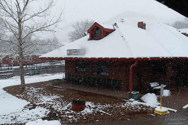 Snow at the Colorado Railroad Museum