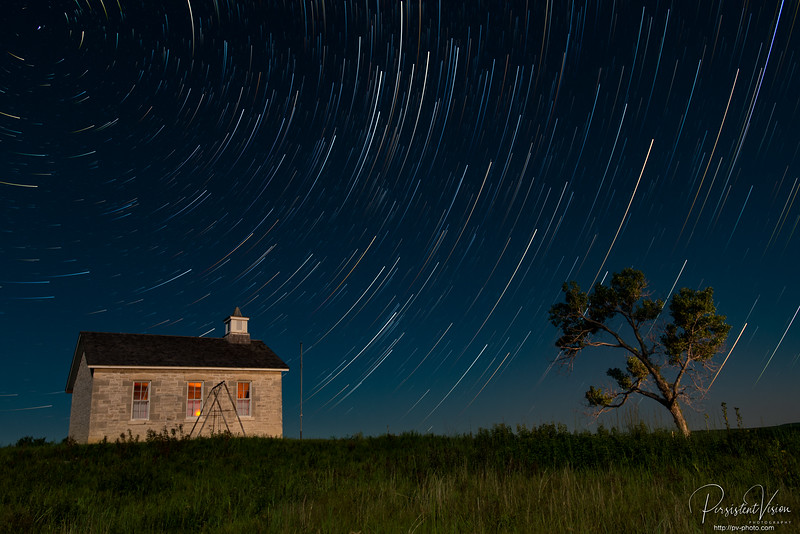 Lower Fox Creek Schoolhouse with Moonlight and Startrails