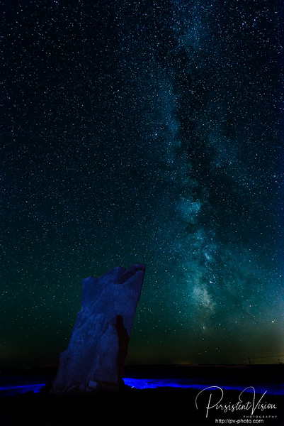 Teter Rock and Milky Way with Light Painting