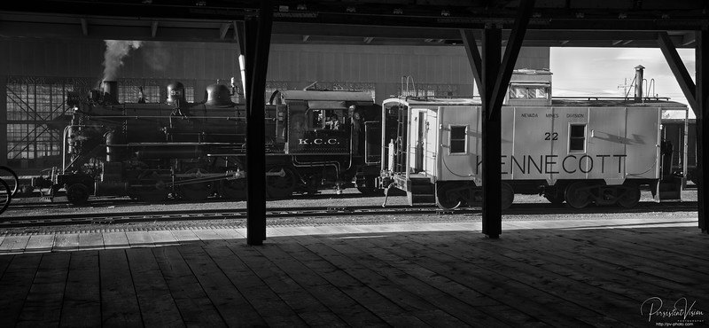 Nevada Northern Railway Locomotive #93 and Caboose 22 viewed from inside Freight Depot