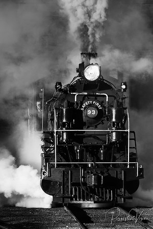 Nevada Northern Railway Locomtive #93 Steams out of the Engine House