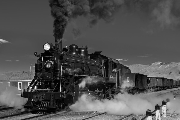 Nevada Northern Railway Locomotive #93 does a run-by in the yard.