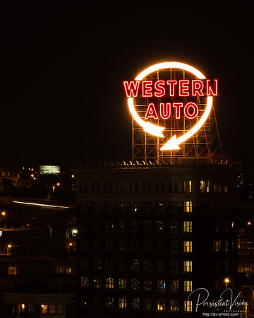 Western Auto Building at Night