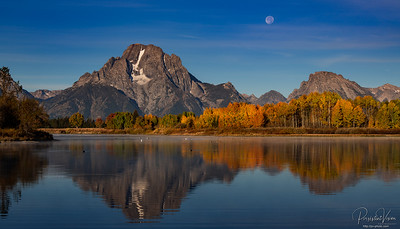 Moon setting over Mt. Moran at Oxbow Bend