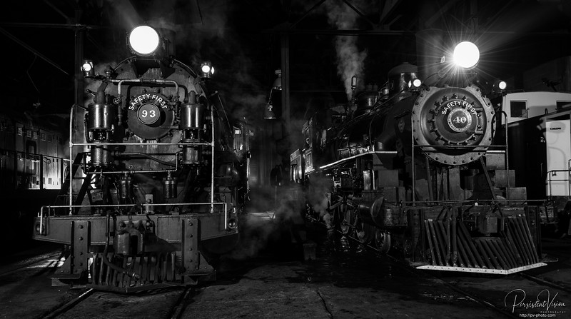 Locomotive *93 and #40 in the Steam Shop