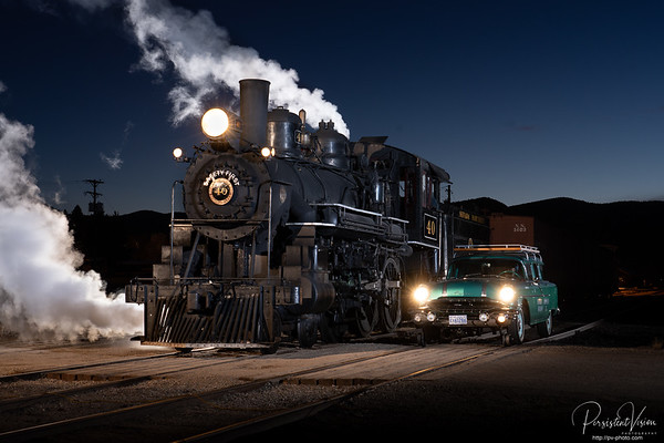 Steam Locomotive #40 and Fairmont HY-RAIL #18 at Night