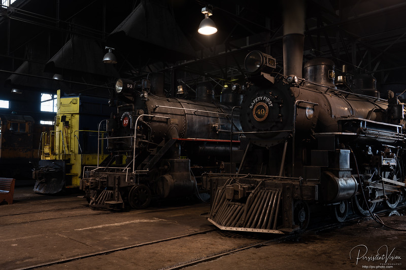 Locomotive #93 and Loctomotive #40 in the Shop