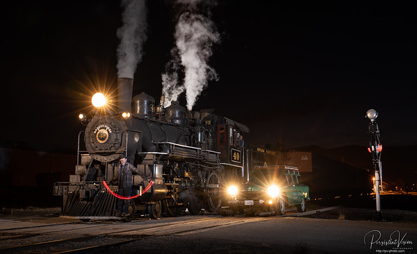 Steam Locomotive #40 and Fairmont HY-RAIL #18 with signalman at Night