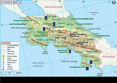Costa Rica Map with Destinations