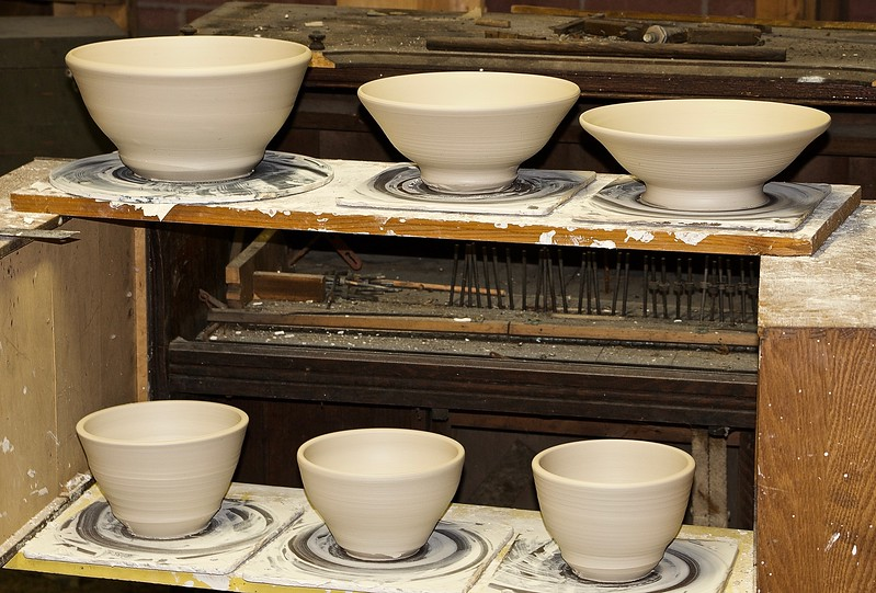 Newly Thrown Pots, waiting to be trimmed, bisqued, and glazed