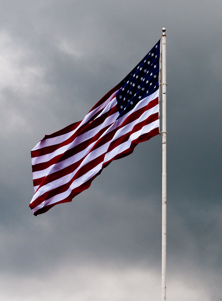 American Flag In a Storm
