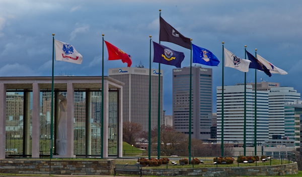 Richmond Virginia Skyline with the Virginia War Memorial on left.