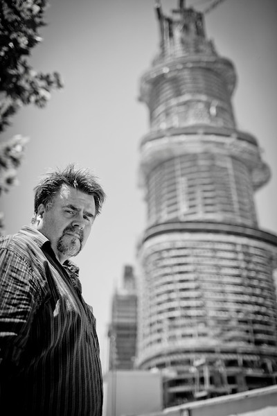 Marshall Strabala with his then-half finished masterpiece, the Shanghai Tower 2012 Shanghai