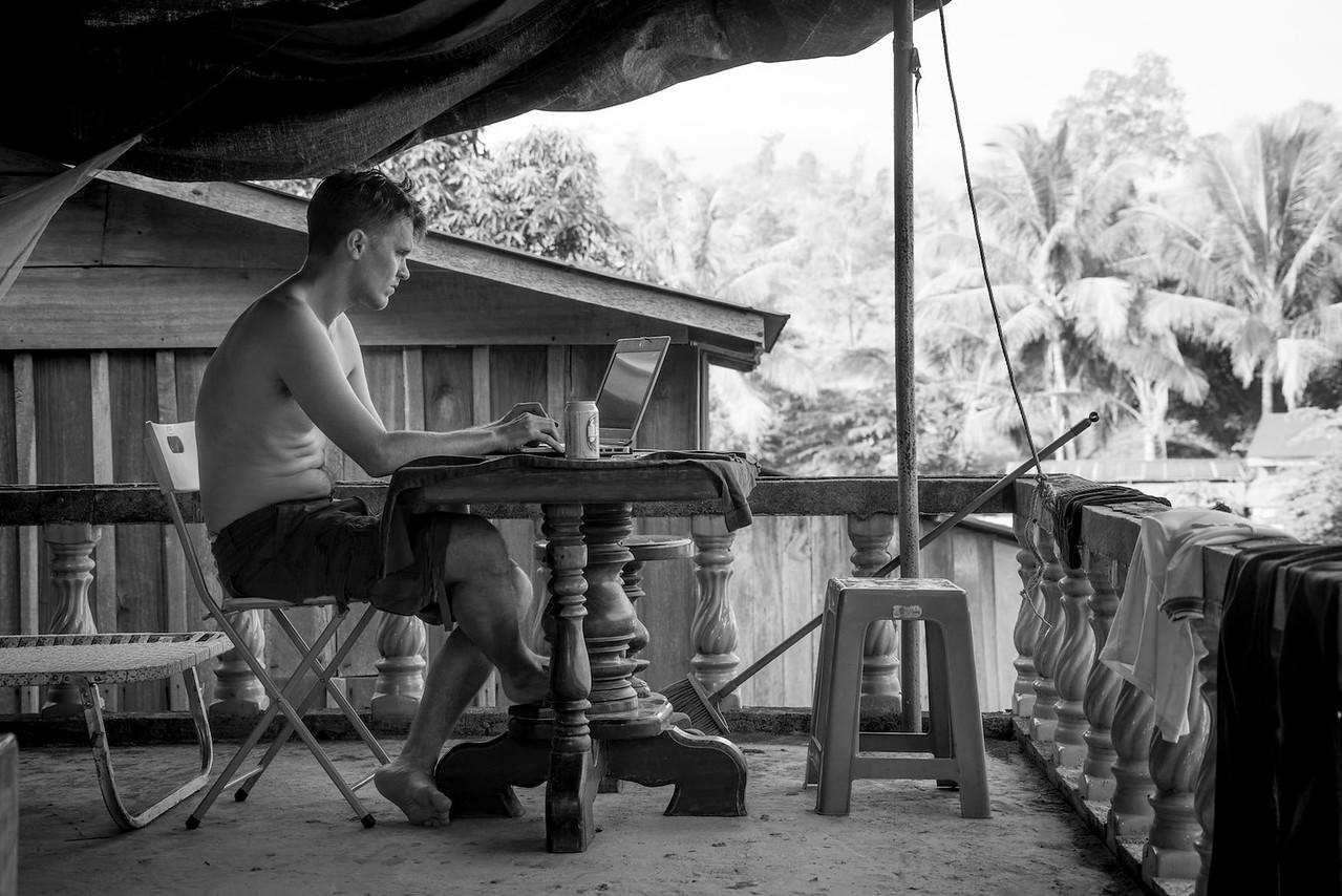 Doctor Tom Peto working on malaria elimination, 2016 Western Cambodia