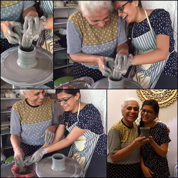 """Dolly Bhansali Chopra -- a Chartered Accountant by profession , moves to Delhi from Bangalore and before she starts work , she explores creative avenues ( her first love she says .) <br /> 4 th July 2016 . After her first class today she expresses herself ---<br /> <br /> Muddy Madness..!!<br /> I always believed in adding magic in my ordinary days and this class with clay, just added a feather to my world of passion.<br /> The Clay that was gentle at the first, left only a thought behind, """"Come on mould me your way - I'm Yours""""..!! Thats all was needed and the rest is just Pure, Serene, Devine, Meditation and Magic..!<br /> With Meena Ma'am along side, so beautiful & gorgeous, full of joy and happiness, the entire process of moulding it into a creativity took off to an another level in a glimpse of time. Her engaging conversations and the spin of the wheel, fingers allowing it to take a shape, my first pottery project was ready (Happiness - Happiness).<br /> She just made it feel like heaven in no-time and like she said - """"Pottery is the only form of art that touches the Human soul as it constitutes all the elements - Earth, Fire, Water, Air and Space"""", shall remain with me forever.<br /> Happiness is adding MUDDY-MAGIC in my ordinary days!"""