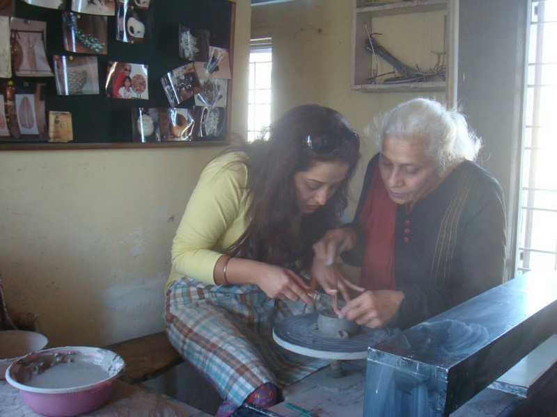 "Going back by an year & a half still reminds me of Meena Mam's inpirational quote on her website ""Teacher turned potter at 50"" which was the biggest driving force for me to decide on learning pottery with her. Her charming personality & motivational conversation in the first meeting made me strong enough to get on to a beginner's journey to pottery. And since then it has never stopped & hope it continues for many more years to come....<br />  <br /> Walking into her studio with her unbeatable energy & positivity around has always helped me in bringing back my creative instinct. Each session with her ends in giving a sense of immense happiness & amazes me when I see my creativity in the form of a final piece. And when Meena Mam's appreciation gets added to all this , one gets that lovely feeling of great pride & achievement. Be it the hand work or the wheel , its not just the joy of learning each technique but also the fun of playing with clay !! Pottery has so much learning attached to it - be it the patience or the concentration & with Meena Mam's personal attention , learning each & every step makes it much more exciting !! At her studio , there is so much more to pottery I have always looked forward to....interactions with students from varied professions , chai & snacks time with lots of chit-chat , FM music & some lovely long lunch sessions with never ending conversations :-):-)<br />  <br /> Learning with Meena Mam at her studio has been one of the most wonderful experiences of my life. God has been great enough in giving me an opportunity to connect with such a magical soul. Her unconditional love & inspiration have been strong enough to create a special bond with her which is much beyond then just a student-teacher relationship. Thanks so much Mam for giving me the strength to live life the happier way :-):-)<br />  <br /> Best Regards,<br /> Purvi."