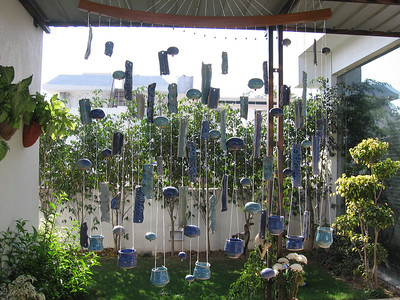 WIND CHIMES WITH T-LITES INSTALLED AT JINDAL HOUSE ON 28th DECEMBER 2006... SIZE OF CHIME - 5'X 5'...  PRICE - Rs.20,000/