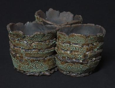 """#920 3 pocket pot - 8"""" across - pockets are 3 1/2"""" inside diameter, 3"""" deep, 3 3/4"""" tall."""