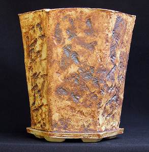Quartzite impressed stoneware. Hexagon 7.5 x 6.5 x 7.75 inches sold