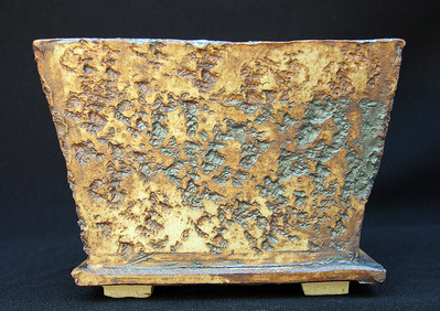 Iron oxide on Rock Impressed Stoneware.  5 x 5 3.75 inches $ 18 sold