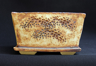 Coral impressed stoneware 5 1/2 square by 3 inches  sold