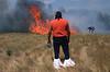 Incendie sur le site d'un pow-wow. Réserve des Cheyennes du Nord/Etat du Montana/USA