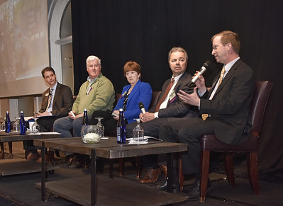 Panelists Todd Shimkus, President, Saratoga County Chamber of Commerce, right; Jeff West, Vice President, U.W. Marx, Inc.; Kathy Sheehan, Mayor, City of Albany; Kevin Bette, President & CEO, First Columbia LLC and moderator Michael DeMasi, Albany Business Review Senior Reporter