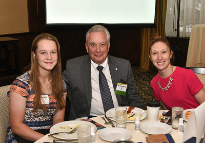 Dr. Kirk Panneton, vice president, regional executive and medical director, BlueShield of Northeastern New York, center, with BlueShield Scholar Elizabeth Jewett from Cohoes High School, right, and Tricia Murphy