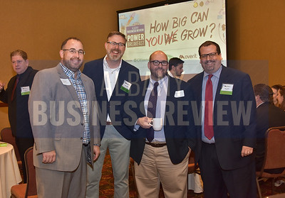 Sean Maguire from the Capital District Regional Planning Commission, left, Paul Fahey from Overit, Mark Castiglione from the Capital District Regional Planning Commission and Paul Hook from Overit
