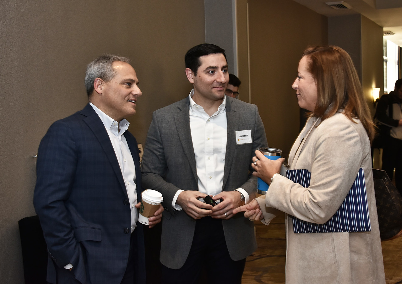 Keynote speaker Dr. Thomas Caulfield, left, Steven Grasso and Augusta Martin