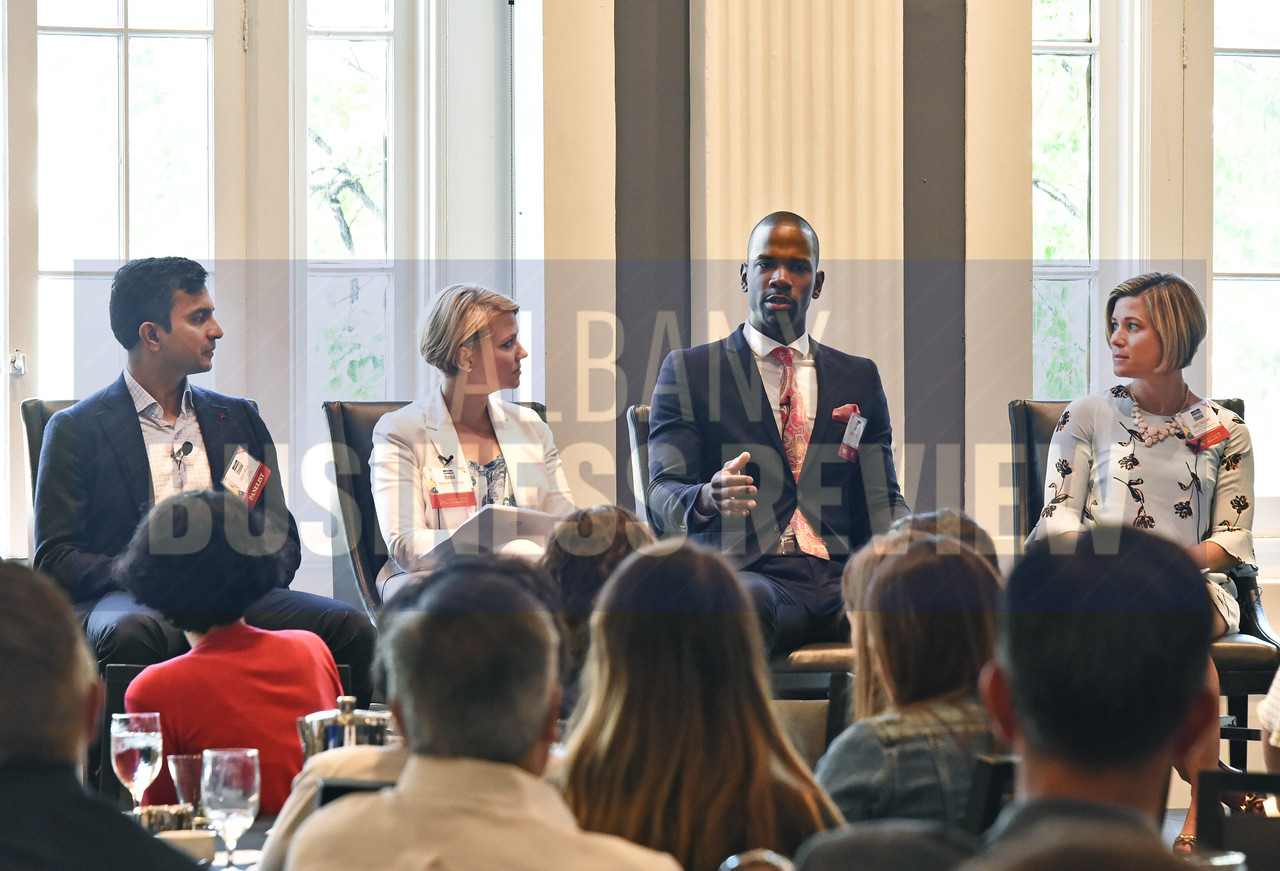 Panelists Guha Bala, president of Velan Studios; Miriam Dushane, managing director of upstate New York for Linium Recruiting; Corey Nelson, owner of Troy Kitchen and Kate Phillips, director of human resources for Regeneron Pharmaceuticals.