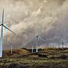 Windmills at sunset in the Tehachapi farm, California.
