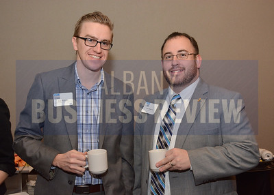 1-29-2015, Economic Outlook Power Breakfast. left, Ryan Watroba, Coldwell Banker Prime Properties & Sean Maguire, CDRPC