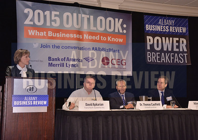 1-29-2015, Economic Outlook Power Breakfast. Publisher Carolyn Jones along with panelists David Apkarian of TransTech Systems, Thomas Caulfield of GlobalFoundries, and Adam Spence, assistant secretary for economic development and innovation for the Office of Gov. Andrew Cuomo.