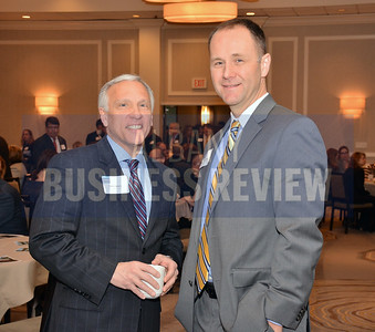 1-29-2015, Economic Outlook Power Breakfast. left, Steve Janack, Behan Communications & Travis Bullard, GlobalFoundries