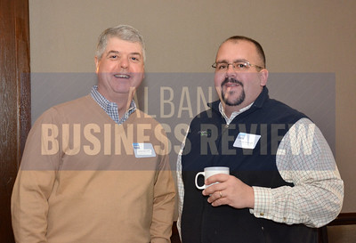 1-29-2015, Economic Outlook Power Breakfast. left, David Barcomb, Troy Industrial Solutions & Bryan Genevick, SmartWatt Energy Inc.