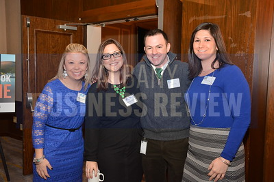 1-29-2015, Economic Outlook Power Breakfast. left, Kate Fruscione, ABR; Courtney Myers, ABR; Mark Duffy, SEFCU & Jennifer Page, CDPHP