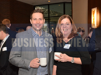 1-29-2015, Economic Outlook Power Breakfast. left, Samuel Greco, Sam Greco Construction & Tracy Metzger, TL Metzger & Associates