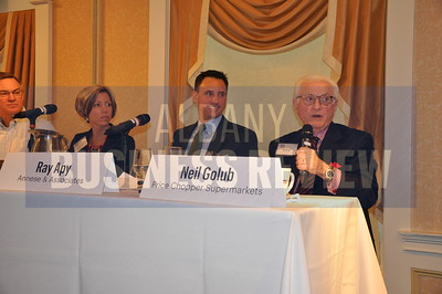 Albany Business Review Family Business Power Breakfast panel: Gary Dake, President, Stewart's Shops Inc., Stefanie Wiley, President, Hoosick Valley Contractors, Ray Apy, President & CEO, Annese & Associates, Neil Golub, Executive Chairman of the Board, Price Chopper Supermarkets
