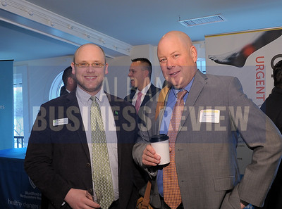 4-24-2015, Albany Business Review's Health Care Power Breakfast. left, Stephen Babson, TD Bank and Michael Shaw, Janssen Pharmaceuticals.