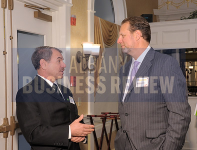4-24-2015, Albany Business Review's Health Care Power Breakfast. left, Robert Davey of TD Bank and panelist Joseph DeVivo, president and CEO of AngioDynamics.