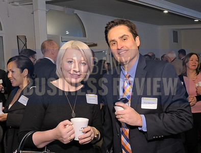 4-24-2015, Albany Business Review's Health Care Power Breakfast.  left, Tara Schuh and Kane Pigliavento, Health Republic Insurance of NY.