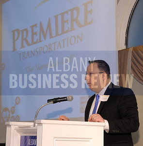 4-24-2015, Albany Business Review's Health Care Power Breakfast. David Brown, president & CEO with sponsor Premiere Transportation.