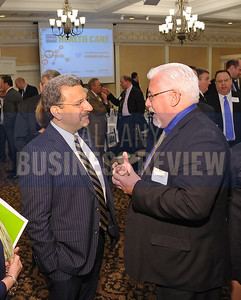 4-24-2015, Albany Business Review's Health Care Power Breakfast. left, Ferninand Venditti, president of Albany Med Faculty Physician Group and Joseph Monahan, MD, of Fusco Personnel, Inc.