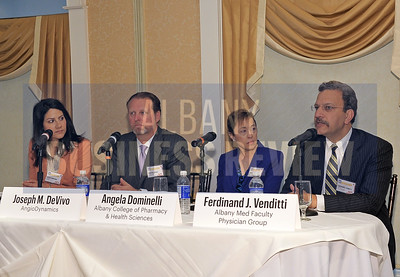 4-24-2015, 4-24-2015, Albany Business Review's Health Care Power Breakfast. Panelists: Jessica Crawford, president of MedTech; Joseph DeVivo, president and CEO of AngioDynamics; Angela Dominelli, dean of the School of Pharmacy at Albany College of Pharmacy and Health Sciences; and Ferdinand J. Venditti, president of the Albany Med Faculty Physician Group.