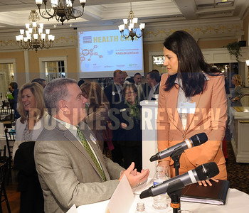 4-24-2015, Albany Business Review's Health Care Power Breakfast. Joe Fairley of DWM Facilities Maintenance with panelist Jessica Crawford, president of MedTech.