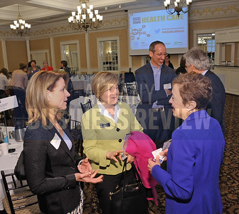 4-24-2015, Albany Business Review's Health Care Power Breakfast. left, Joan Hayner, Capital Care Medical Group; Kathy Rowe, Mayo Medical Laboratories and panelist  Angela Dominelli, dean of the School of Pharmacy at Albany College of Pharmacy and Health Sciences.